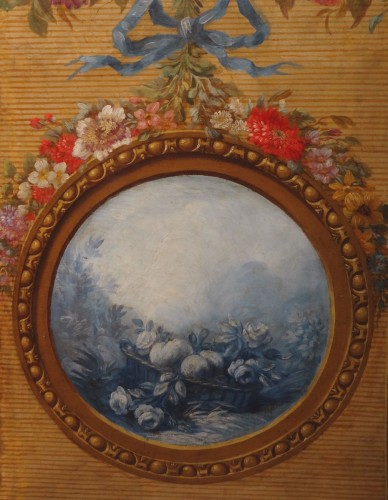 French screen in painted canvas, late 18th century - Directoire
