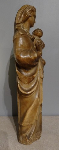 Virgin and Child carved alabaster Trapani, late 16th  - Religious Antiques Style Louis XIII