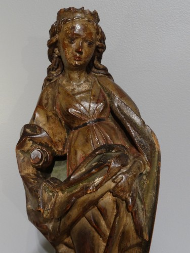 German Holy, polychrome wood, 15th century - Sculpture Style Middle age