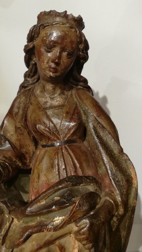 16th century - German Holy, polychrome wood, 15th century