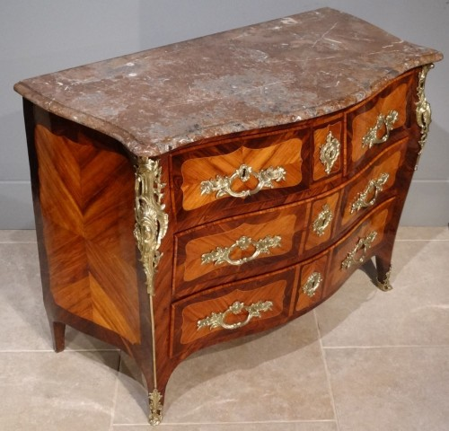 "18th century - French parisian Louis XV commode stamped ""Pierre ROUSSEL"" 18th century"