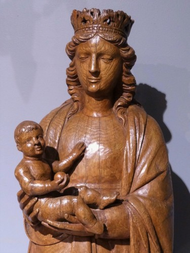French Virgin and child, oak carved, early 16th century -
