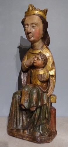 "Middle age - Virgin in Majesty ""allaitante"", Catalonia, early 14th century"