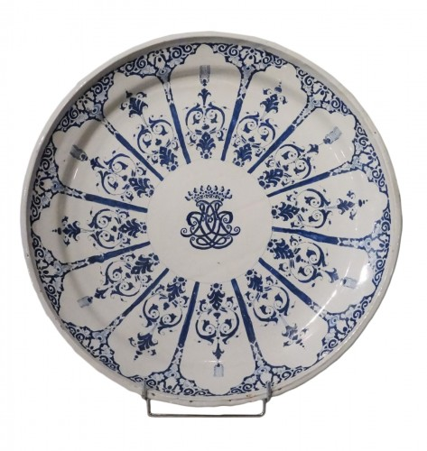 Large Dish, Rouen Earthenware, 18th Century