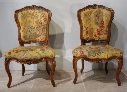 French pair of Louis XV chairs, attributed to Pierre Nogaret - Seating Style Louis XV