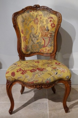 French pair of Louis XV chairs, attributed to Pierre Nogaret -