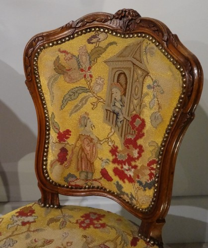 Antiquités - French pair of Louis XV chairs, attributed to Pierre Nogaret