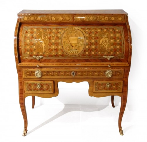 "French Desk ""bureau cylindre"", inlaid, 18th century"