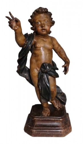 Italian putti, polychrome wood, 17th century