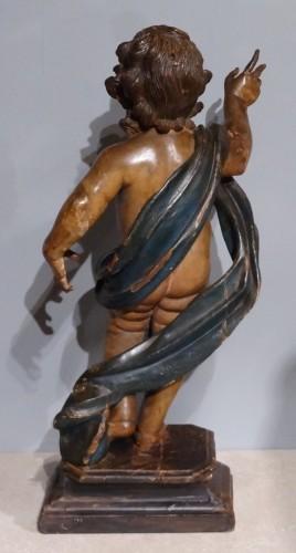 Sculpture  - Italian putti, polychrome wood, 17th century