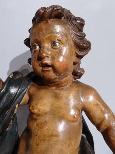 17th century - Italian putti, polychrome wood, 17th century