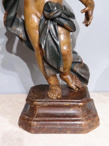 Louis XIV - Italian putti, polychrome wood, 17th century