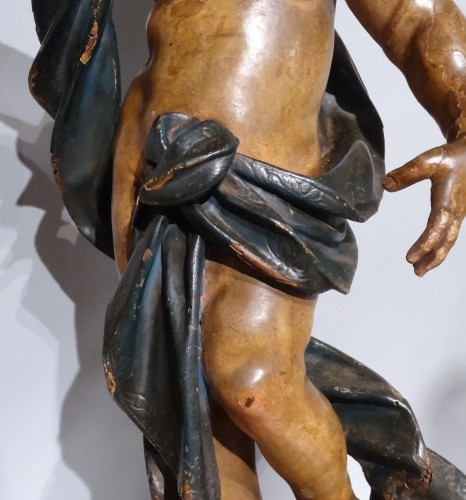 Antiquités - Italian putti, polychrome wood, 17th century