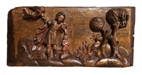"Spanish panel poychrome ""the sacrifice of Abraham"", 17th century"