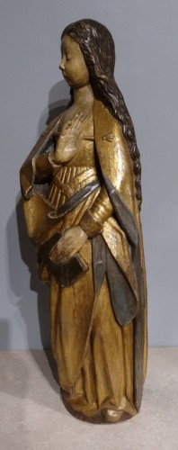 """Sculpture  - Virgin """"Annunciation"""" in carved wood and polychrome, around 1520"""