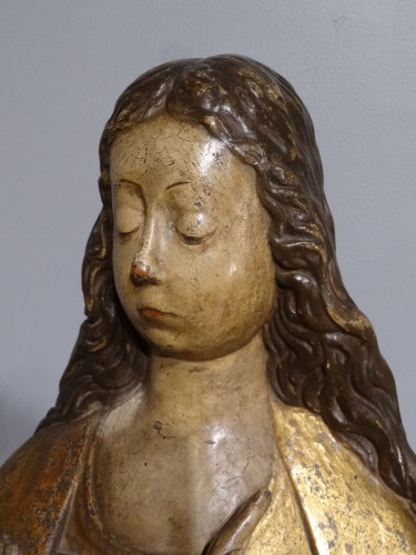 """Virgin """"Annunciation"""" in carved wood and polychrome, around 1520 -"""