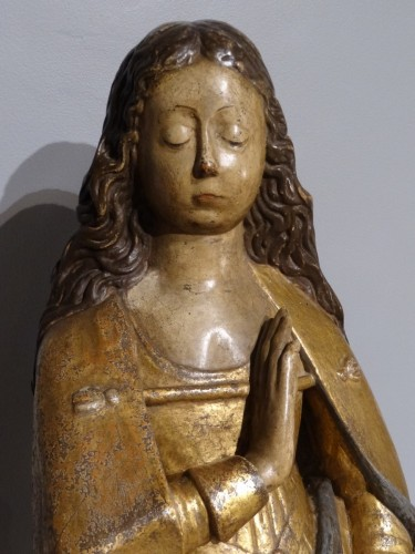"""Virgin """"Annunciation"""" in carved wood and polychrome, around 1520 - Renaissance"""