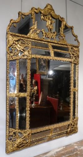 17th century - Large Louis XIV Gilt Brass mirror