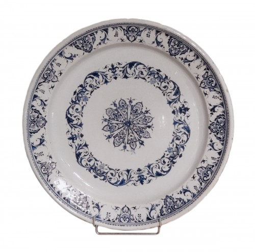 Large Dish In Rouen Earthenware, Early 18th Century
