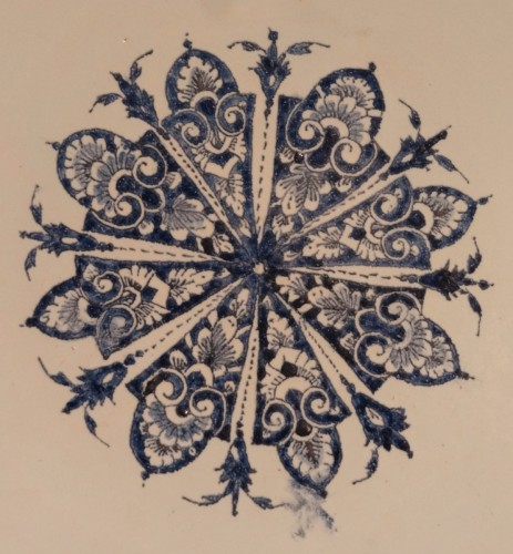 Large Dish In Rouen Earthenware, Early 18th Century -