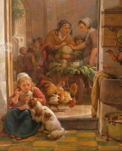 """Paintings & Drawings  - French painting, """"interior Scene"""", 19th century"""