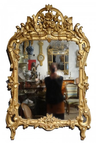 French Louis XV giltwood mirror