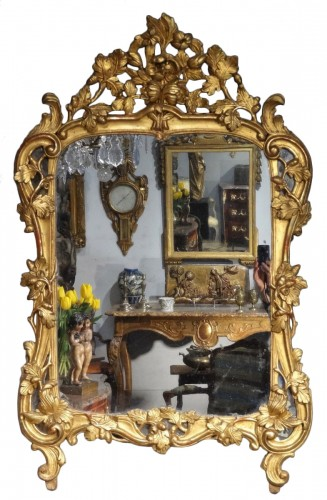 French Louis XV mirror, gilded wood, 18th century
