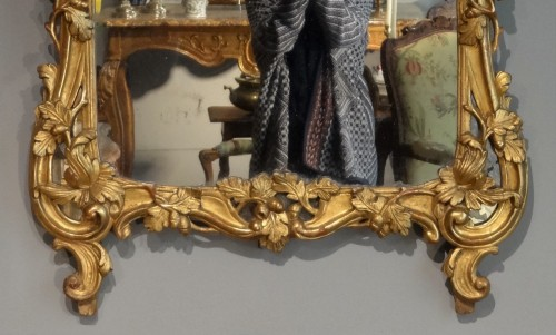 French Louis XV mirror, gilded wood, 18th century  -