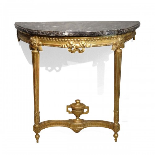French Louis XVI console in gilded wood