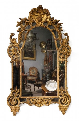 French Regency Mirror, Gilded Wood, Circa 1720