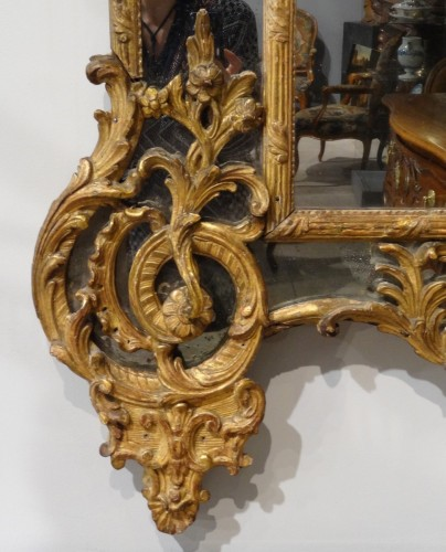 French Regency Mirror, Gilded Wood, Circa 1720 - Mirrors, Trumeau Style French Regence
