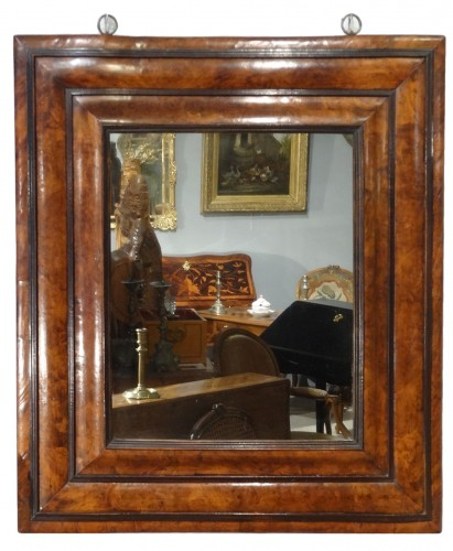 "Large 17th century ""inverted profile"" mirror in  in olive tre"