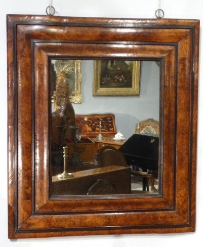 "17th century - Large 17th century ""inverted profile"" mirror in  in olive tre"