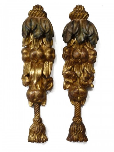 Pair Of Wooden Falls, Gilded Wood, 17th Century