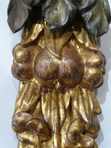 Sculpture  - Pair Of Wooden Falls, Gilded Wood, 17th Century