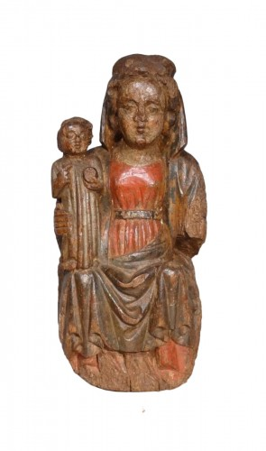 "French Madonna And Child ""in Majesty"", Polychrome Wood, 15th Century"