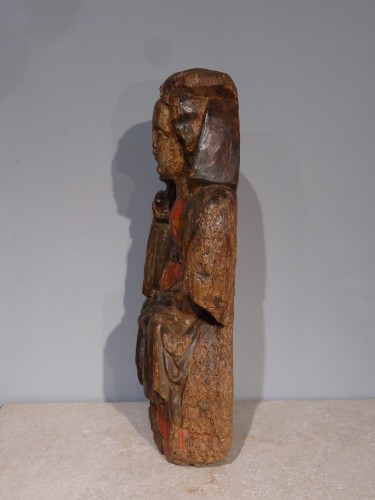 "French Madonna And Child ""in Majesty"", Polychrome Wood, 15th Century - Sculpture Style Middle age"