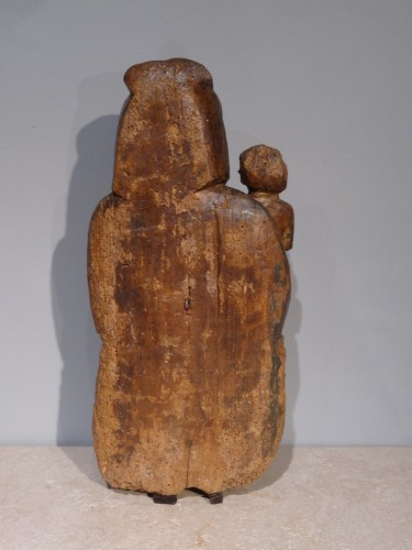 "Sculpture  - French Madonna And Child ""in Majesty"", Polychrome Wood, 15th Century"
