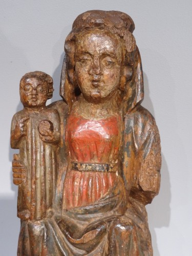 "French Madonna And Child ""in Majesty"", Polychrome Wood, 15th Century -"