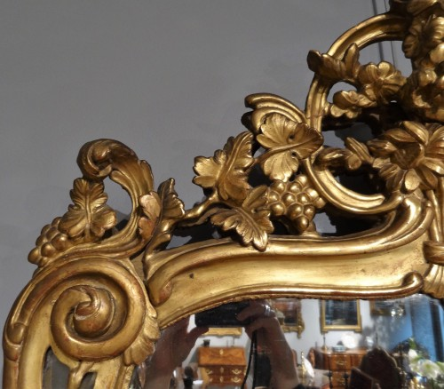 French Louis XV mirror in gilded wood, 18th century -