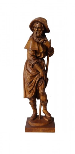 German Saint Roch, Carved Boxwood, 18th Century