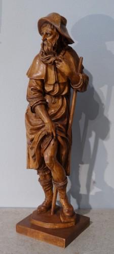 German Saint Roch, Carved Boxwood, 18th Century - Louis XVI