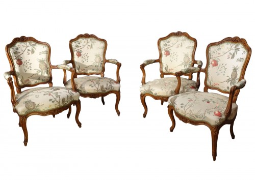 Four french armchairs Louis XV, 18th century
