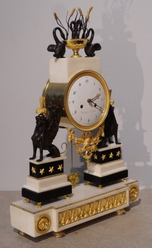 "French Directoire clock with ""sphinxes"", in bronze and marble, early 19th - Clocks Style Directoire"