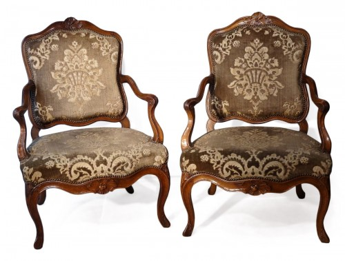 French Pair Of Louis XV Armchairs, Walnut, 18th Century