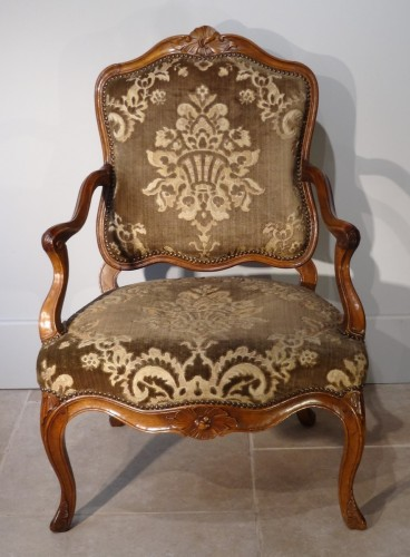 Seating  - French Pair Of Louis XV Armchairs, Walnut, 18th Century