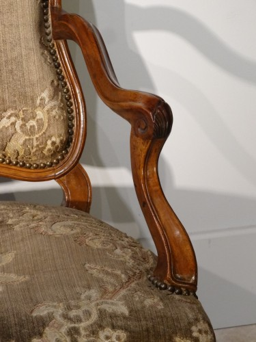 French Pair Of Louis XV Armchairs, Walnut, 18th Century -