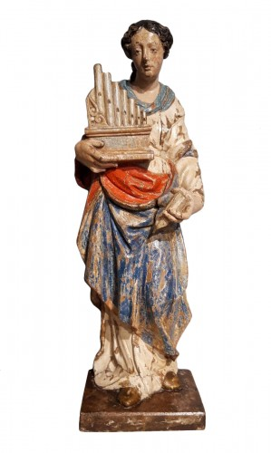 Saint Cecile In Carved painted Wood, 17th Century