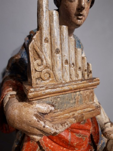 Sculpture  - Saint Cecile In Carved painted Wood, 17th Century