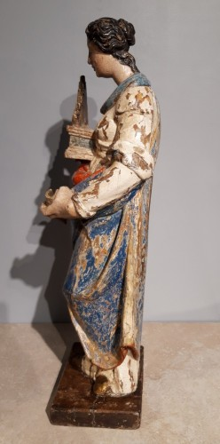 Saint Cecile In Carved painted Wood, 17th Century - Louis XIV